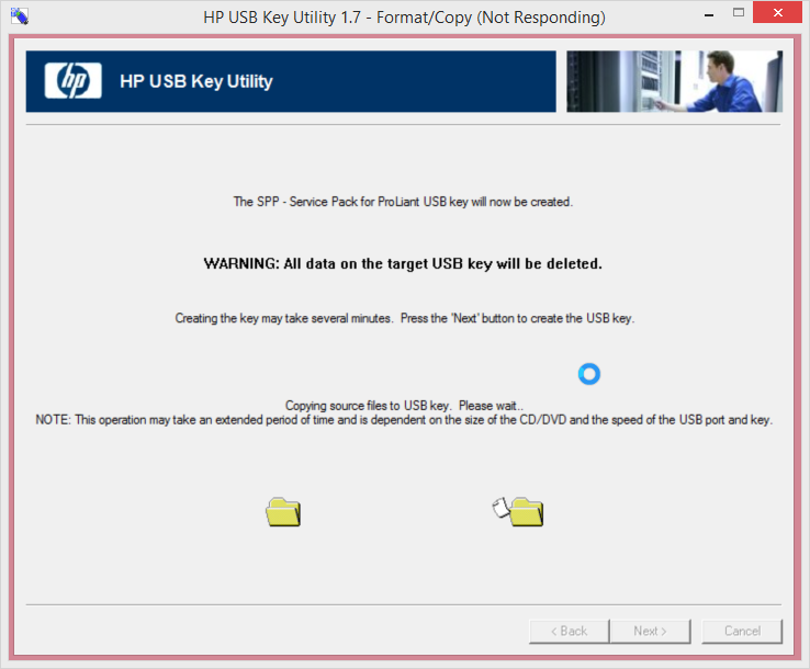 HP USB Key Utility 1.7 - Format_Copy (Not Responding)