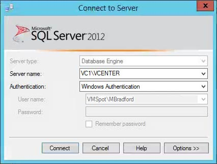 SQL Server Management Studio Connection Settings