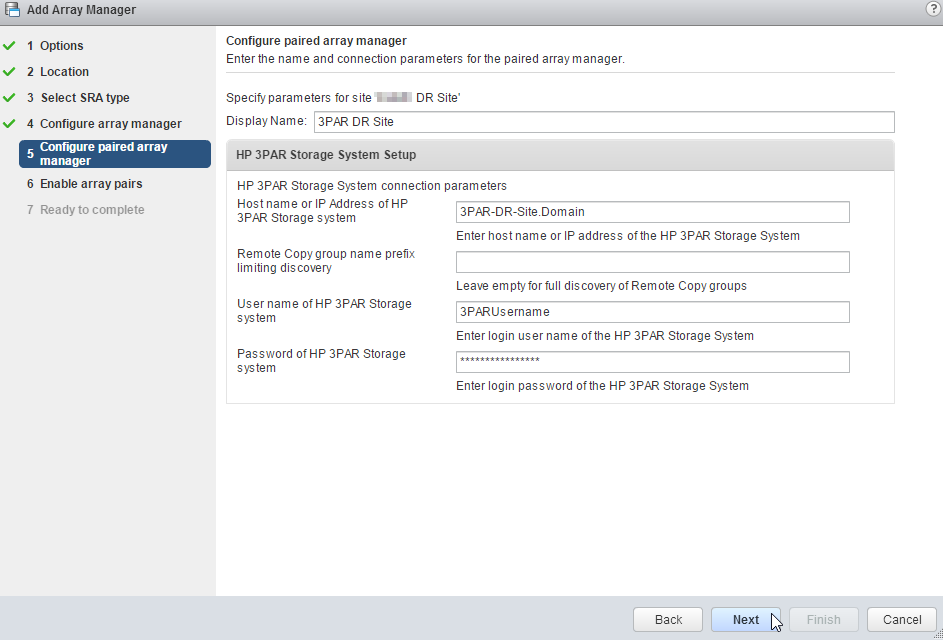 Configure Paired Array Manager