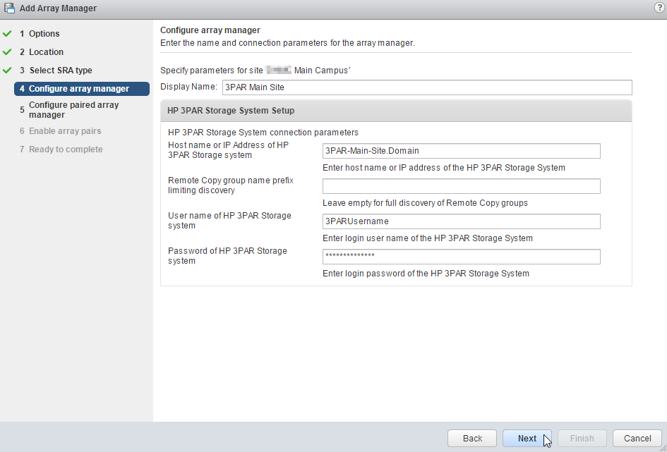 Configure Array Manager
